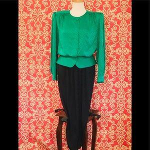 VTG 100% Silk Garfinckel's Skirt Set